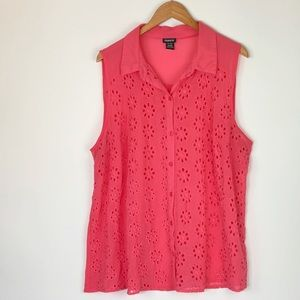Torrid Coral Eyelet Button Down Top Size 2X